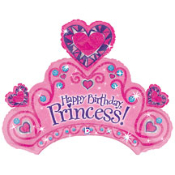 "34"" Happy Birthday Princess Tiara Foil Shape"