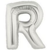 Letter Balloon R Silver